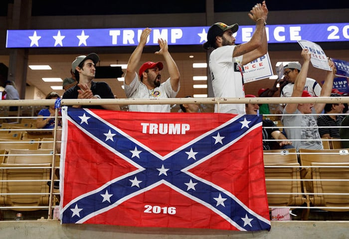 Racist Donald Trump Supporters Proudly Fly The Confederate