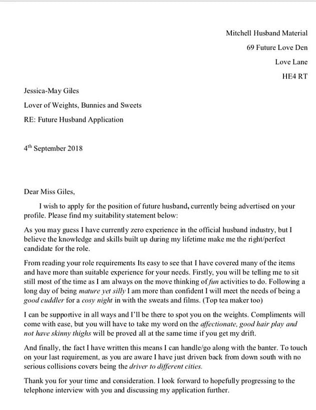 Man Woos Tinder Match With Cover Letter Explaining Why He S Husband