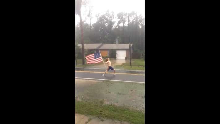 Naked girl american flag