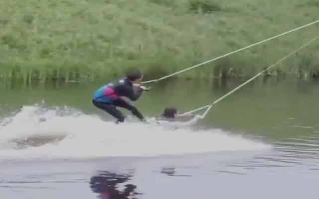 Featured image for Uh Hmm, Man Lets His Friend Ride Him Like A Wakeboard [Video]