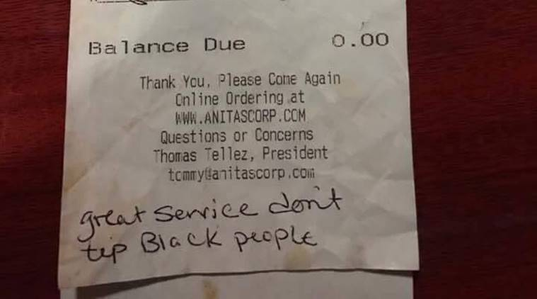 Waiters Receive Racist notes