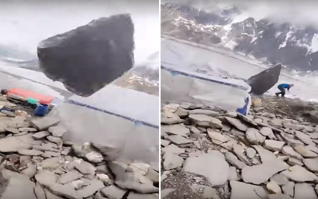 Featured image for O-M-F-G: Vast Boulder Misses Mountain Climber By Inches! [Watch]