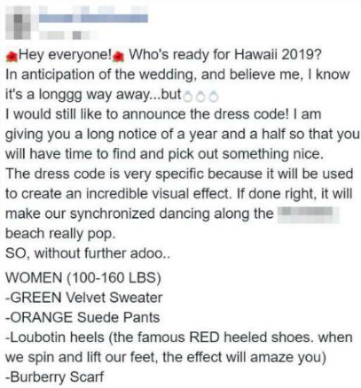 Bridezilla Wants Guests To Follow $1,000 Dress Code Based