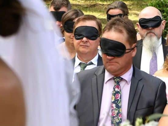 Featured image for Bride Asked Guests To Wear Blindfolds On Wedding, Her Reason Will Warm Your Heart