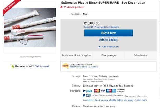 Miss McDonald's Plastic Straws? Get on One eBay for the Low, Low Price of $1,300