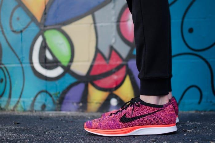 nike pink shoes graffiti background